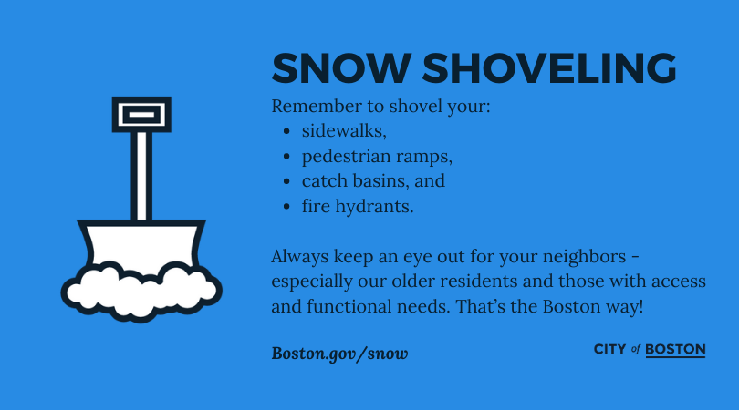 Use caution when shoveling, and help neighbors when you can